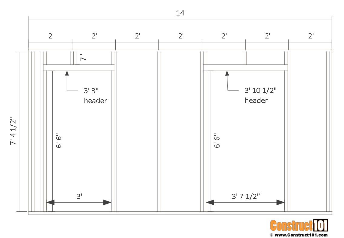 10x14 goat shelter plans with storage - front wall frame.
