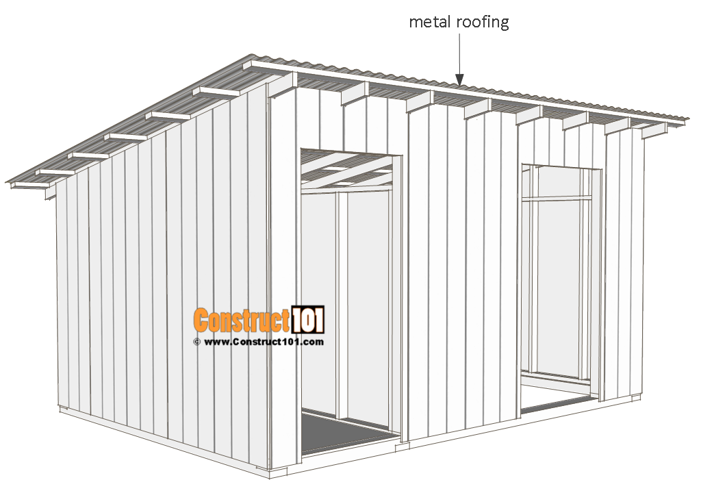 10x14 goat shelter plans with storage - metal roofing.