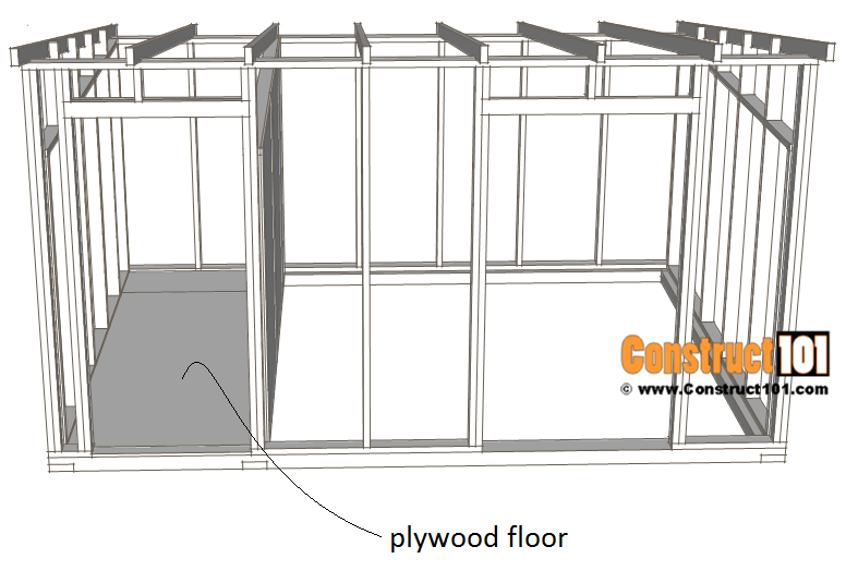 10x14 goat shelter plans with storage - plywood floor.