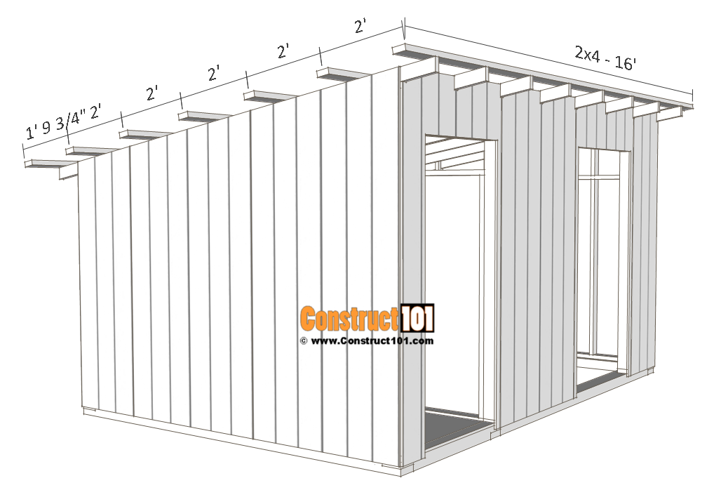 10x14 goat shelter plans with storage - purlins.