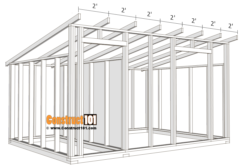 10x14 goat shelter plans with storage - rafters/truss.