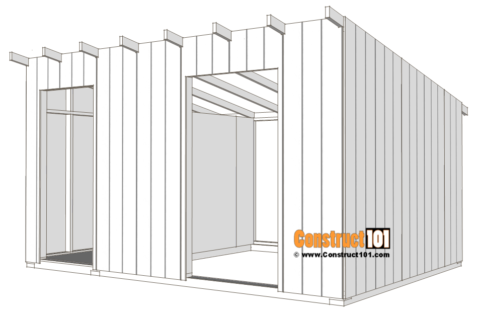 10x14 goat shelter plans with storage - t1-11 siding.