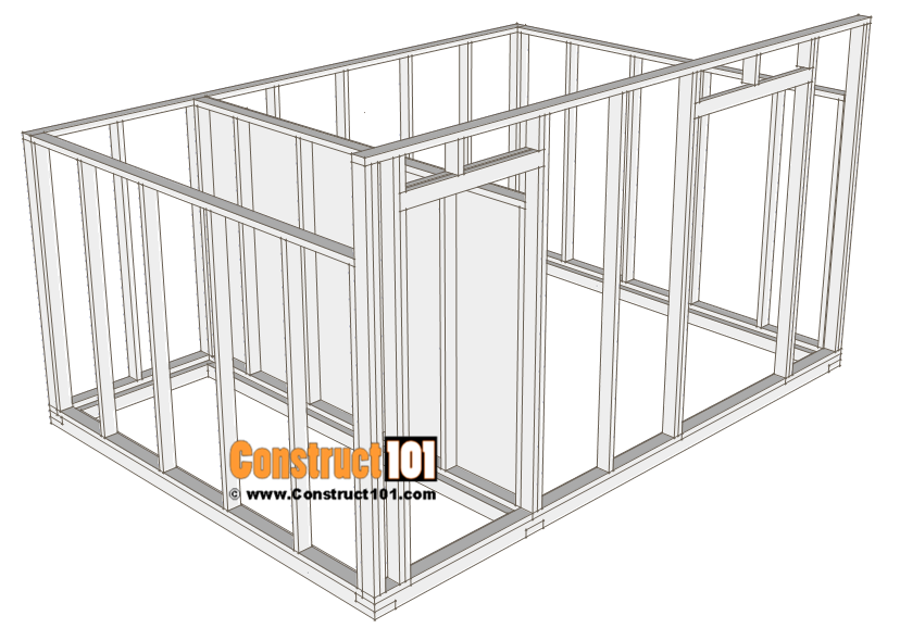 10x14 goat shelter plans with storage - wall frame.