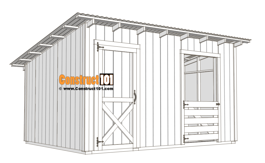 10x14 goat shelter plans with storage - free PDF - material list - Construct101