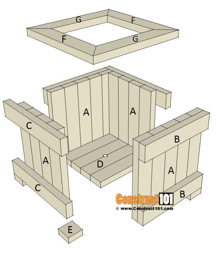 2x4 planter box plans - exploded view - material list, PDF at Construct101.