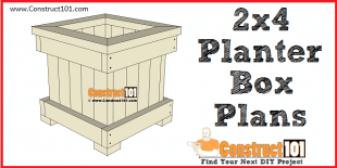 2x4 planter box plans - free PDF download, materia list, measurements, drawings, at Construct101.