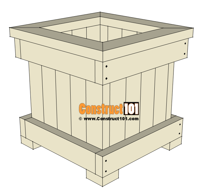 2x4 planter box plans, step-by-step drawings, free PDF download, shopping list, cutting list, at Construct101.