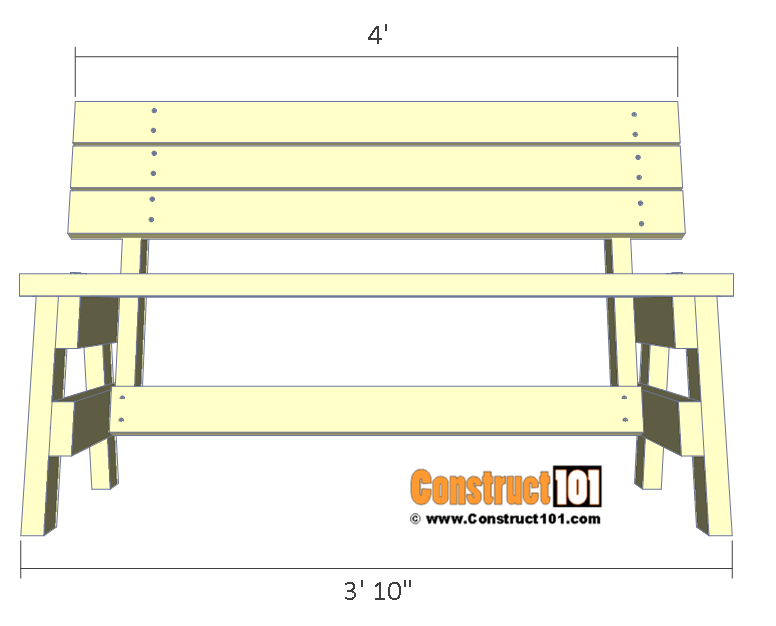 Simple DIY 2x4 bench - free plans, front view.