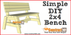 Simple DIY 2x4 bench - free plans, PDF download, material list, at Construct101.