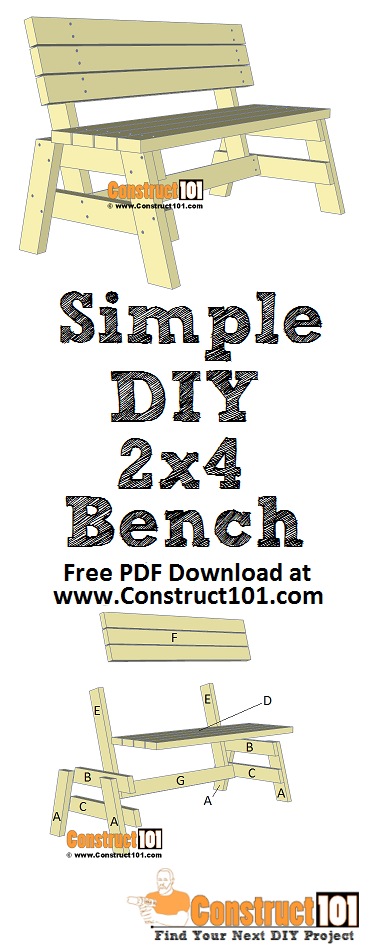 Simple DIY 2x4 bench - free plans - PDF download, material list, step-by-step drawings, at Construct101.