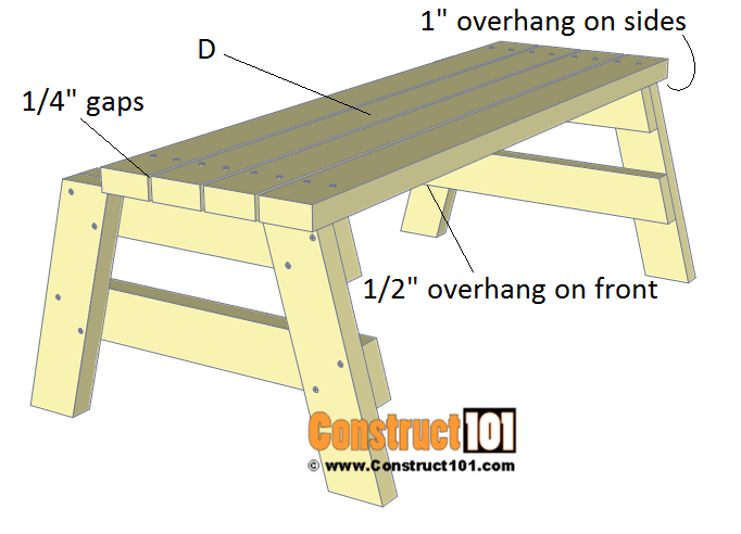 Simple DIY 2x4 bench - free plans, step 2