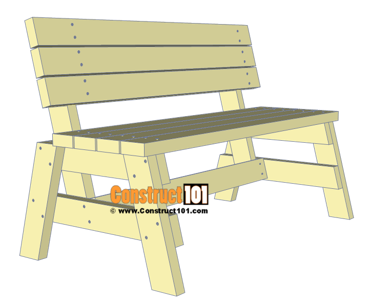 Simple DIY 2x4 bench - free plans, at Construct101