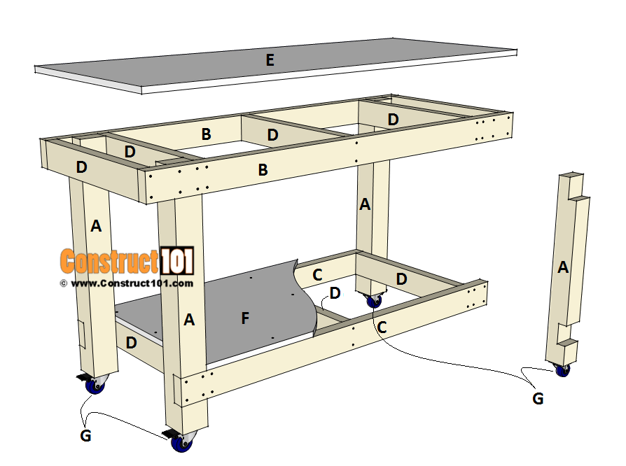 Simple workbench plans - exploded view - material list.