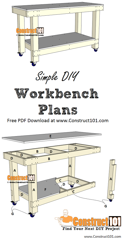 Simple workbench plans - includes free PDF download, material list, drawings, and step-by-step instructions, at Construct101.