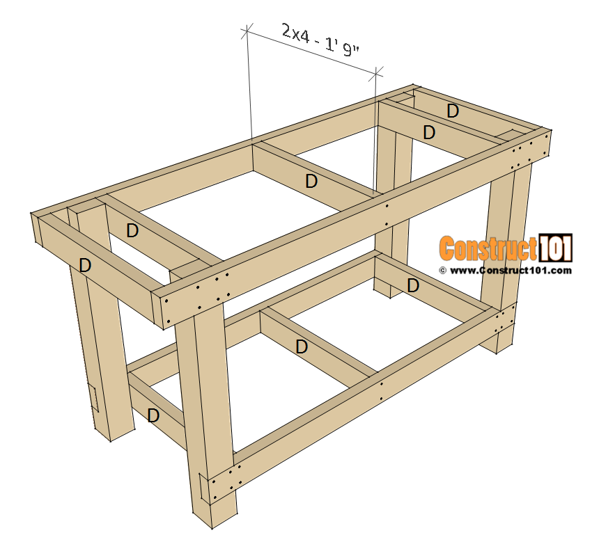 Simple workbench plans - step 3