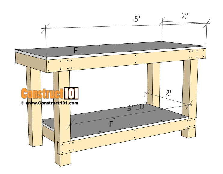 Simple workbench plans - step 4