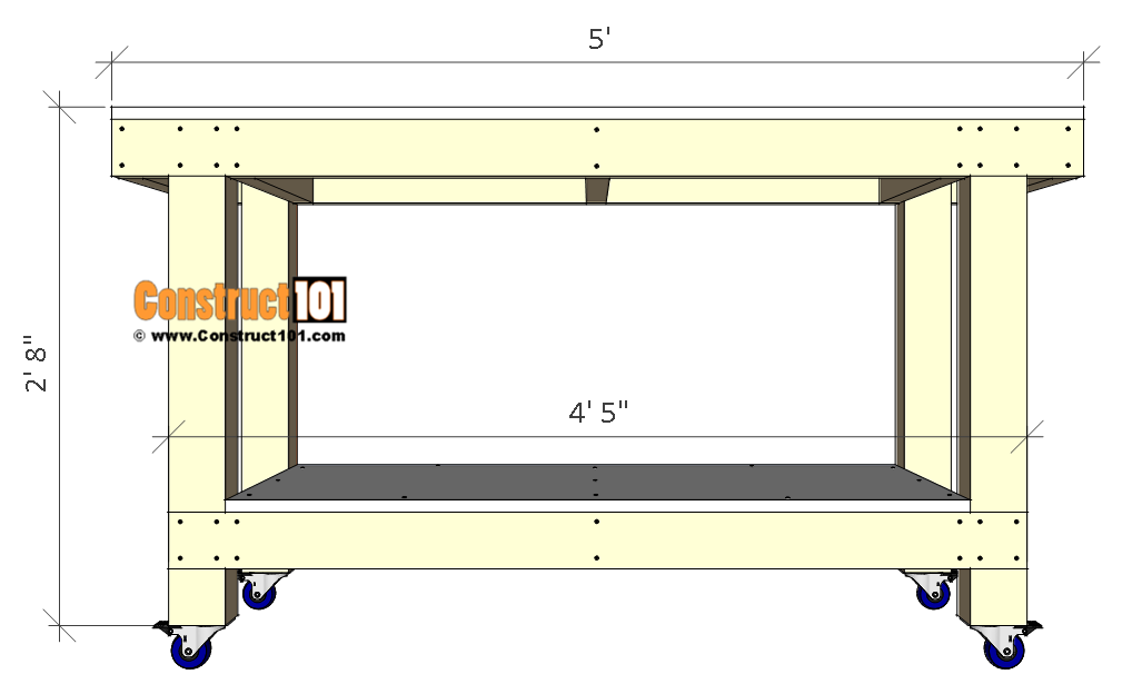 Simple workbench plans - front view.