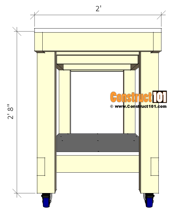 Simple workbench plans - side view.