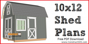 10x12 barn shed plans - free PDF download at Construct101.