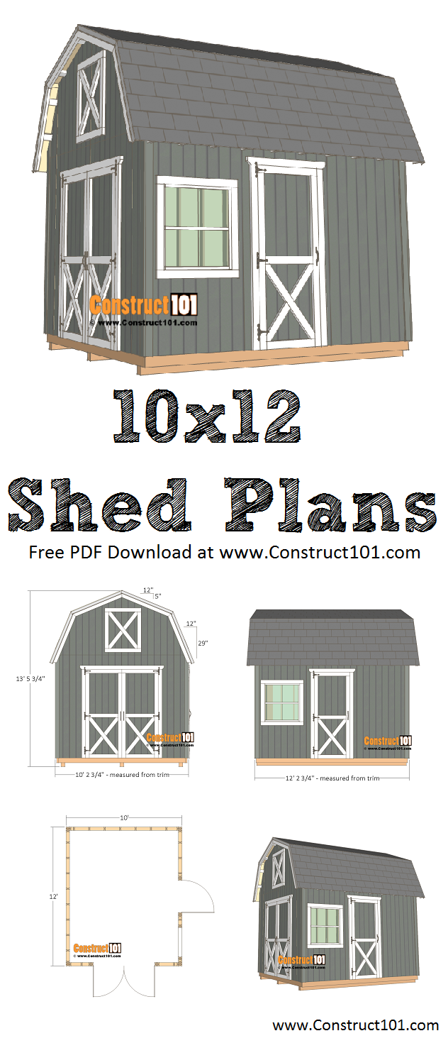 10x12 barn shed plans - free PDF download, material list, step-by-step drawings, DIY at Construct101.