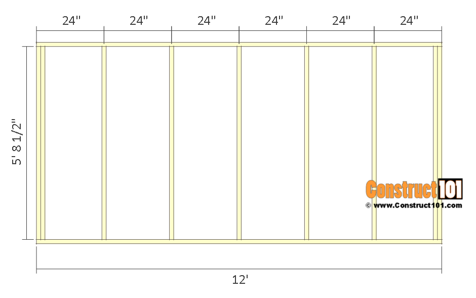 10x12 lean to shed plans - back wall frame.