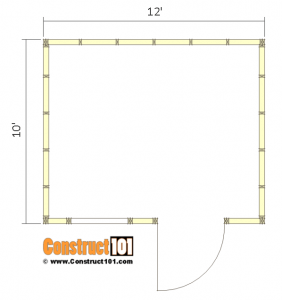 10x12 lean to shed plans - floor view.
