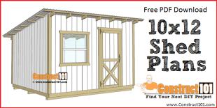 10x12 lean to shed plans - free PDF plans.