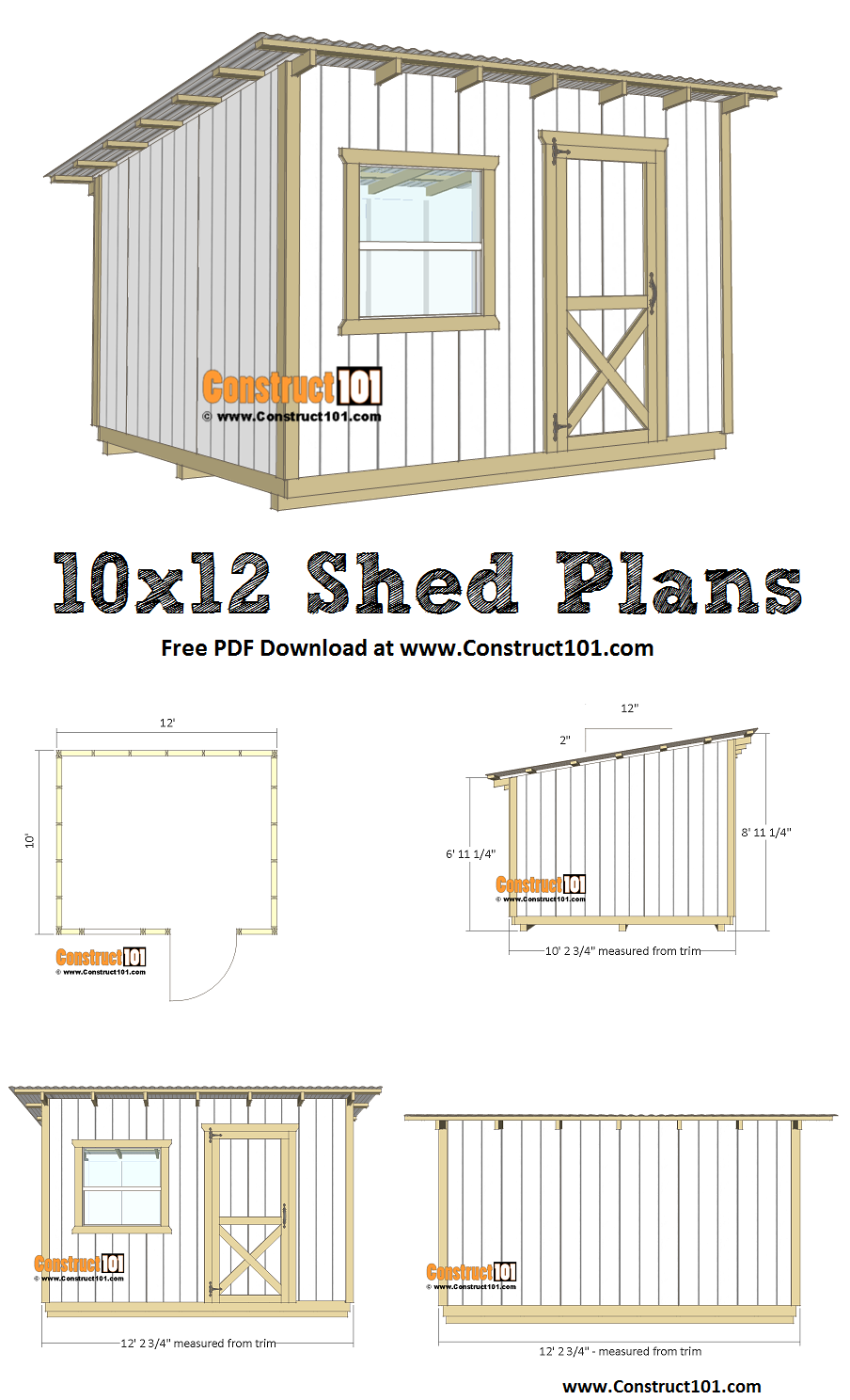 10x12 lean to shed plans - free PDF download, material list, DIY step-by-step, at Construct101.