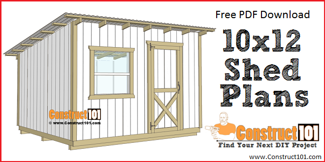10x12 lean to shed plans - free PDF plans.
