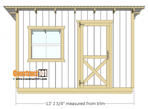 10x12 lean to shed plans - front view.