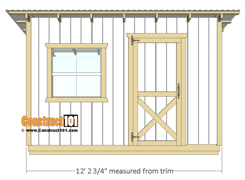 10x12 Lean To Shed Plans Front View Construct101