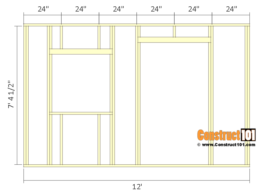 10x12 lean to shed plans - front wall frame.