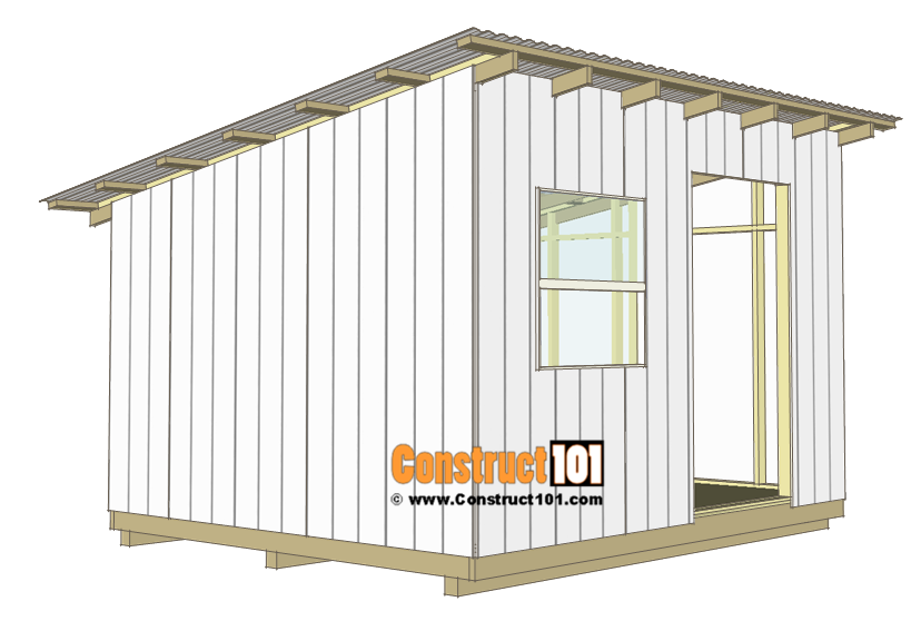 10x12 lean to shed plans - corrugated roof.