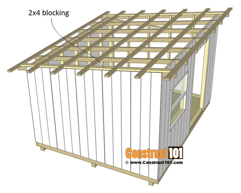 10x12 lean to shed plans - roof - 2x4 blocking.