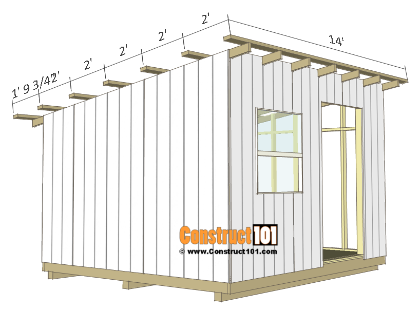 10x12 lean to shed plans - roof purlins.