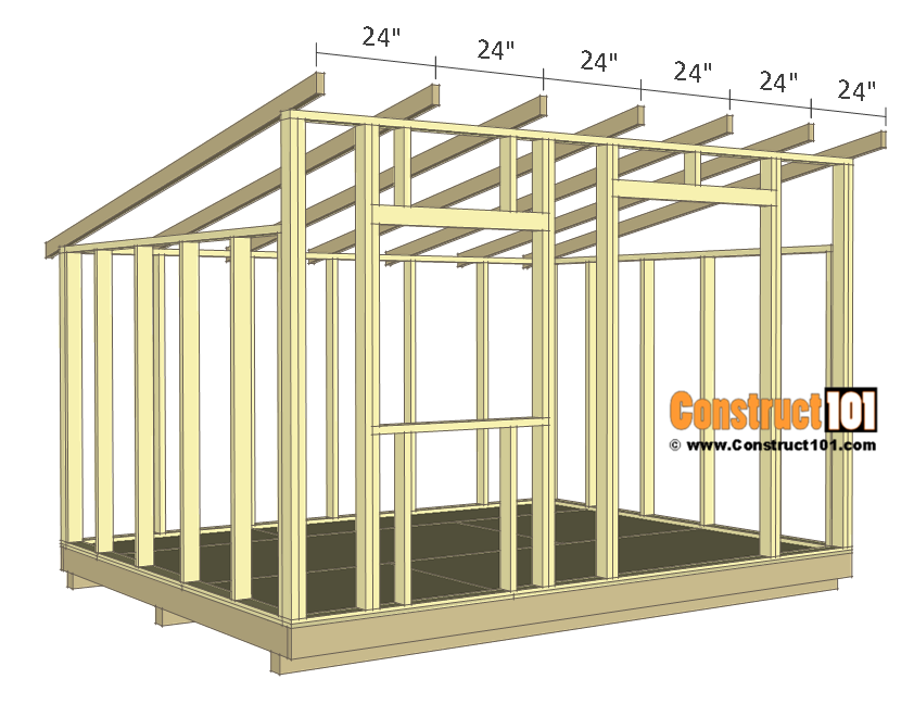 10x12 lean to shed plans - rafters installed.