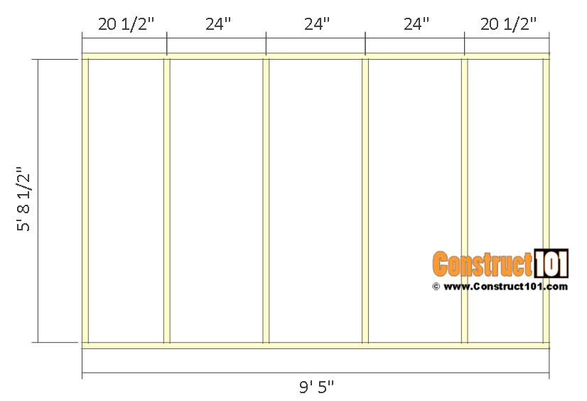 10x12 lean to shed plans - side wall frame.