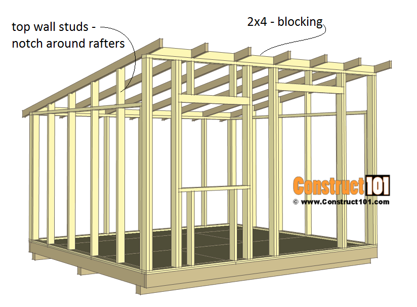 10x12 lean to shed plans - top sidewall studs - 2x4 blocking.