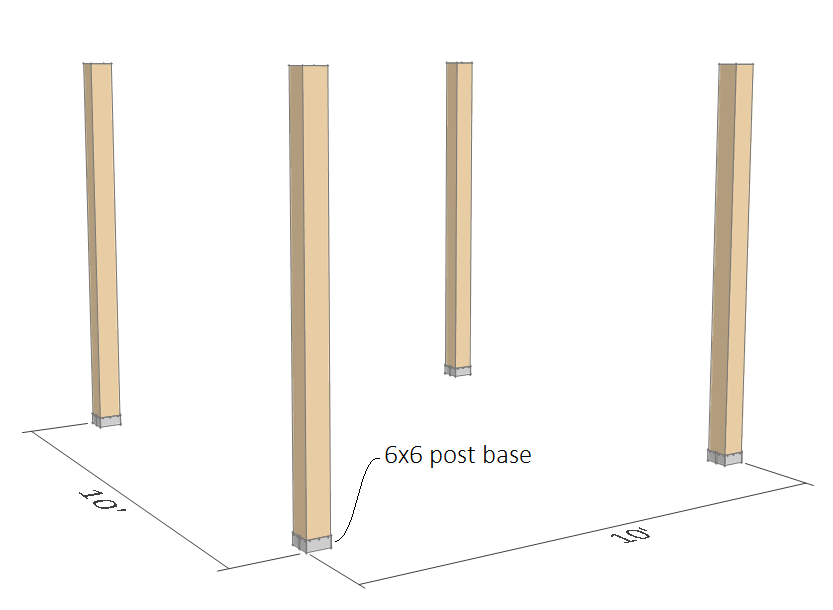 10x10 pergola plans - 6x6 post.