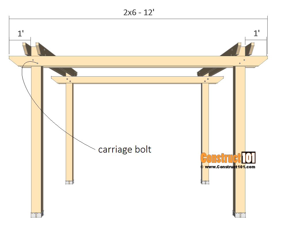 10x10 pergola plans - bottom crossbeams.
