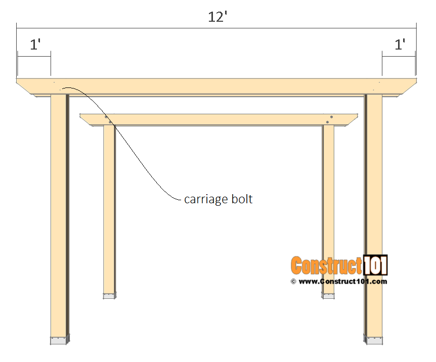 10x10 pergola plans - top crossbeams.