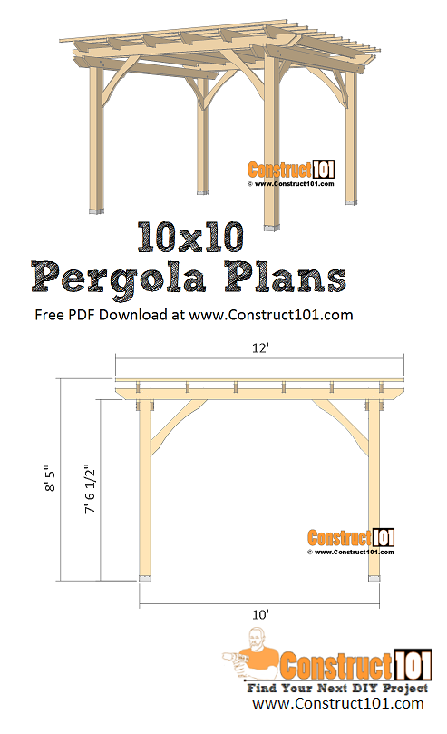 10x10 pergola plans - free PDF download, material list, and drawings - DIY Construct101