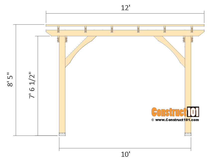 10x10 pergola plans - front view.