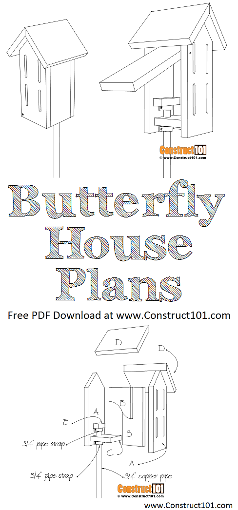 Simple butterfly house plans, free PDF download, material list, drawings, at Construct101.