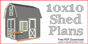 10x10 barn shed plans - free PDF download at Construct101.