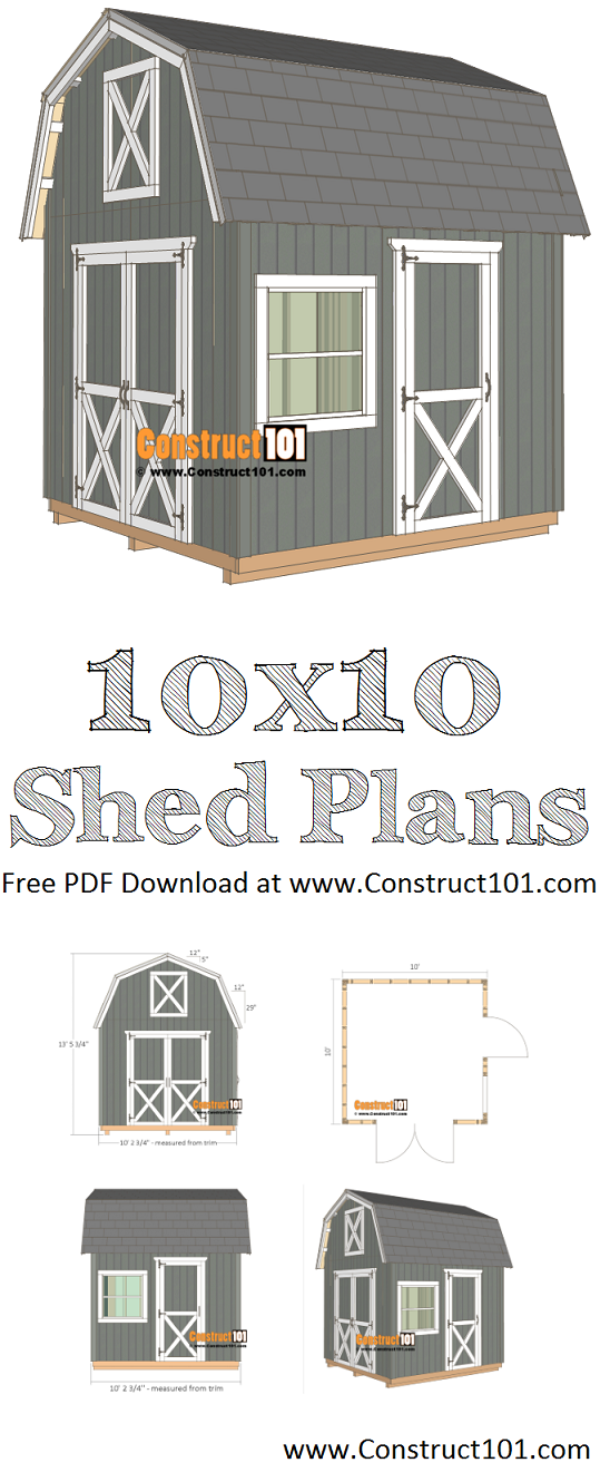 10x10 barn shed plans - free PDF download, material list, drawings, at Construct101. DIY step-by-step plans.