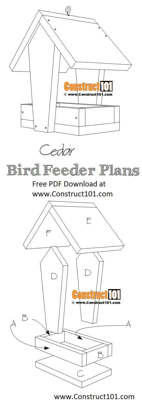 Cedar bird feeder plans - free PDF download, material list, at Construct101.