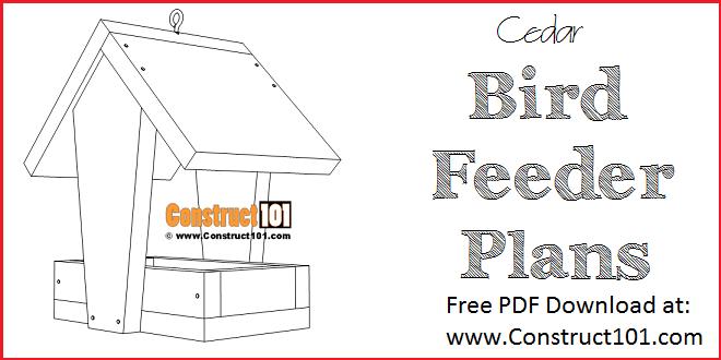 Cedar bird feeder plans - free PDF Download at Construct101.