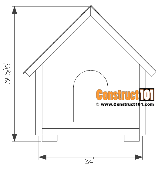 Dog house plans 2 ft. x 2 ft. - front view.