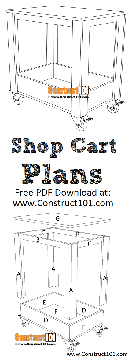 Plywood shop cart plans, free PDF download, material list, DIY projects at Construct101.